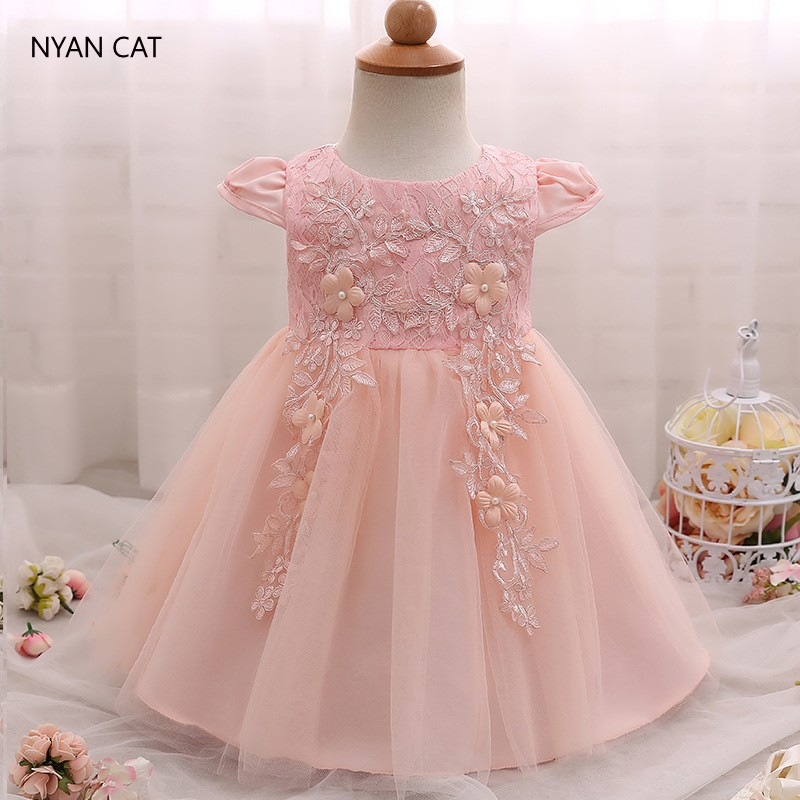EMS DHL Free Shipping Baby Girls kids Beaded Flowers Infants Gauze Dress Princess Party Birthday Luxury Tulle Dress 3 Colors New ems dhl free 2017 new lace tulle baby girls kids sleeveless party dress holiday children summer style baby dress valentine