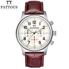 PATTOUS Brands Mens Dress Chronograph Wrist Watch Retro Brown Genuine Leather Best Mens Watches SII Time Module Quartz Watch