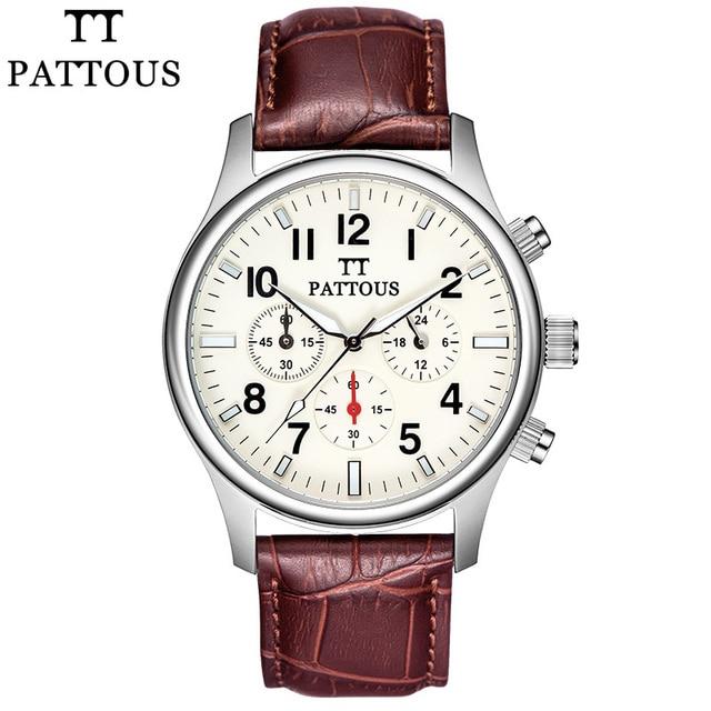Pattous Brands Mens Dress Chronograph Wrist Watch Retro Brown