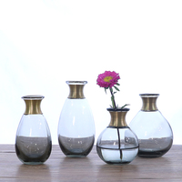 NEW Glass vase Copper ring mouth small flower vases Dry flowers for vase Hydroponic Container vase for wedding home decoration
