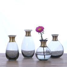 NEW Glass vase Copper ring mouth small flower vases Dry flowers for Hydroponic Container wedding home decoration