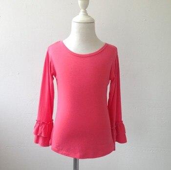 Girls Trendy Double Ruffle Plain Shirt Kids Knitwear Stylish Cotton Ruffle Top For Girls Ruffle Top фото