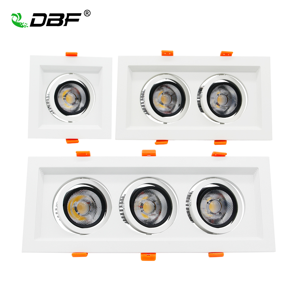 DBF Super Bright Square COB LED Recessed Downlight 10W/20W/30W 12W/24W/36W 3000K/4000K/6000K Ceiling Spot Lamp AC220V Home Decor diy 20w 3000k 2100lm square cob led module dc 36 45v