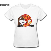 SAMCUSTOM The Vegan Werewolf Love Eat Pizza T-shirts for Women Harajuku Funny Product Tops Lady Casual Short Sleeve T-Shirt Tops