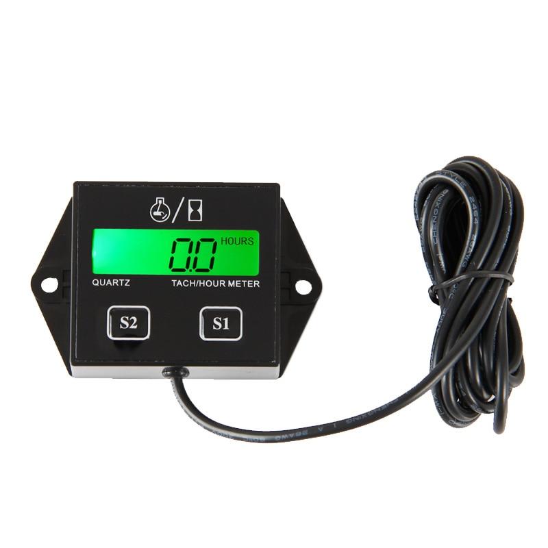 Backlight Inductive Digital LCD Hour Meter Tachometer for atv motorcycle generator outboard motocross UTVc balck RL-HM011L