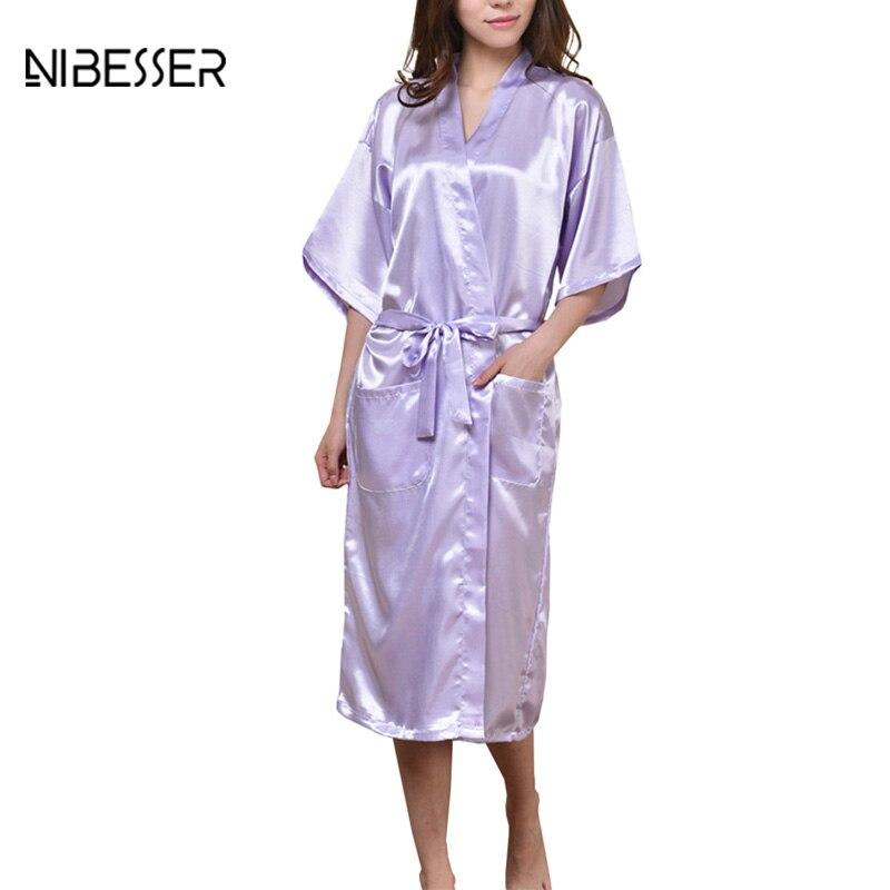 NIBESSER Plus Size 3XL Ladies Nightgowns Silk Kimono Sleepshirts Women Fashion Half Sleeves Sleepwear Night Dress Home Dress