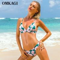 OMKAGI Brand Brazilian Bikini 2017 Bikinis Set Swimsuit Swimwear Women Sexy Thong Push Up Swimming Bathing