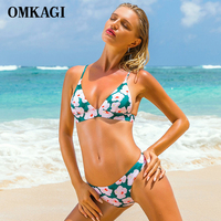 OMKAGI Brand Brazilian Bikini 2017 Bikinis Set Swimsuit Swimwear Women Sexy Thong Push Up Swimming Bathing