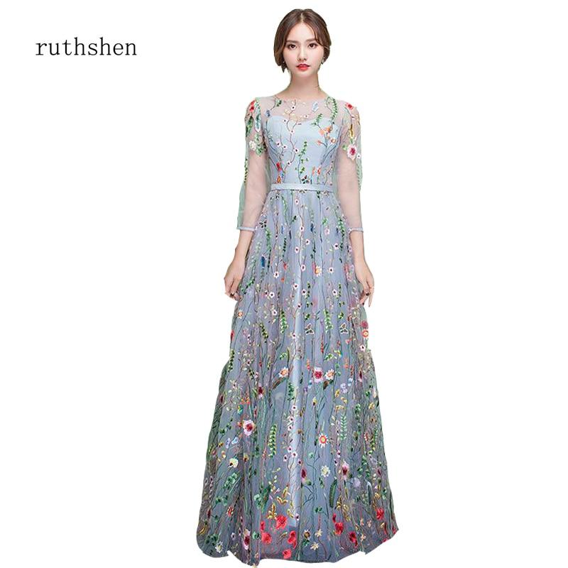 Ruthshen ホット販売ブラックチュール刺繍長袖女性スリムフォーマルウエディングドレスの床の長さパーティードレス  グループ上の ウェディング & イベント からの プロムドレス の中 1