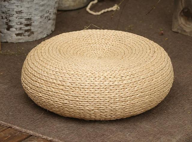 Handcrafted Eco Friendly Breathable Woven Straw Seat Cushion Natural Futon Pouf Ottoman Floor Seating