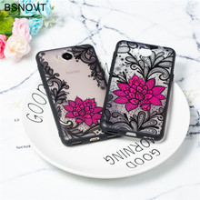 For Huawei Y5 2017 Case Lace Rose Flower Soft TPU Silicone Phone Cover Funda BSNOVT