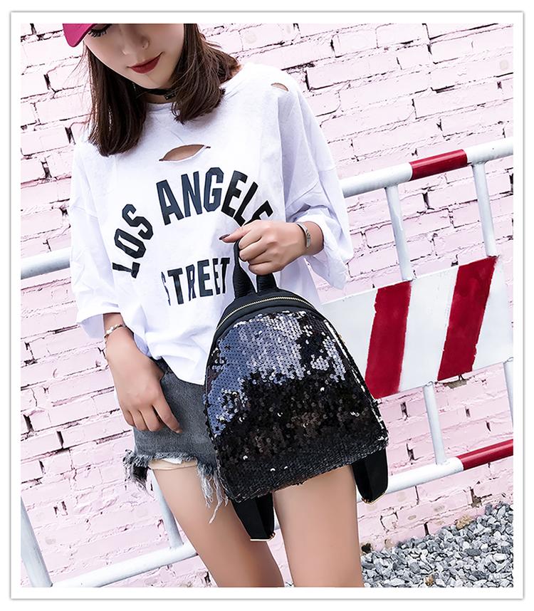 Backpacks women Korean mini 2018 new sequined shell fashion trend women go with small backpacks travel backpack 82
