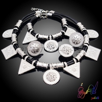 Free Shipping Classic Design Antique Silver Plated Retro Jewelry Set Big Crystal Statement Necklace USA Popular