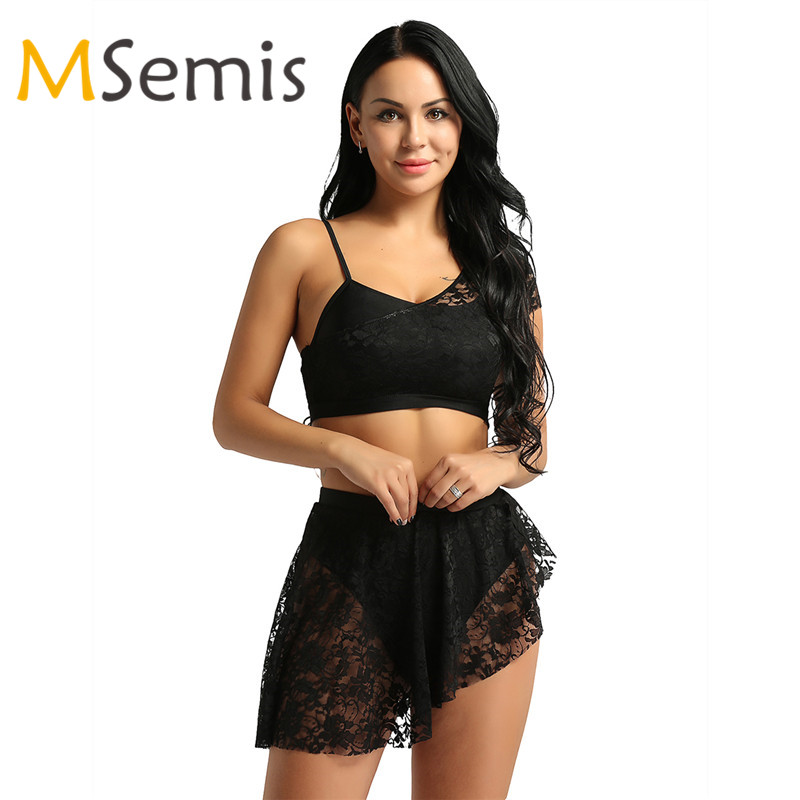 Ballet Leotards for Women Adult Ballet Leotard Lyrical Dress Lace Overlay Asymmetric Contemporary Outfits Crop Top with Skirt