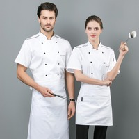 Kitchen Cooking Work Clothes Restaurant Uniform Summer T shirt Double Breasted Tops Shirt Chef Jackets Unisex
