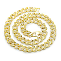 24K Real Gold Plated MIAMI CUBAN LINK Exaggerated Shiny Crystal Rhinestone Necklace Sets Hip Hop Bling