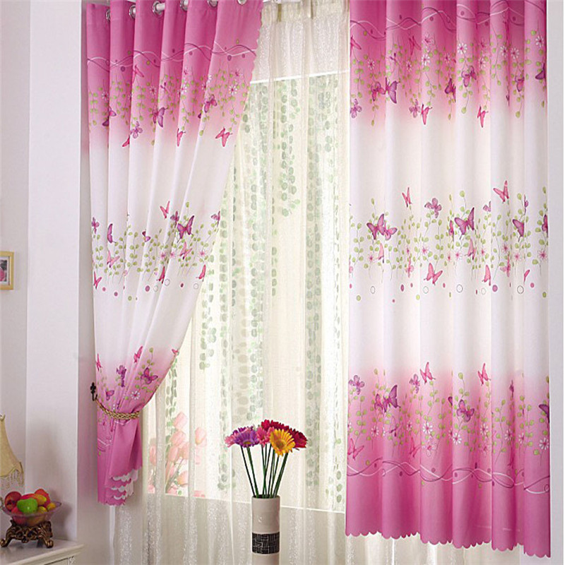 New 1*2M Flower Butterfly Calico Window Curtain Finished Product Cloth Window Screens Curtain Pink Girls Curtains For Bedroom