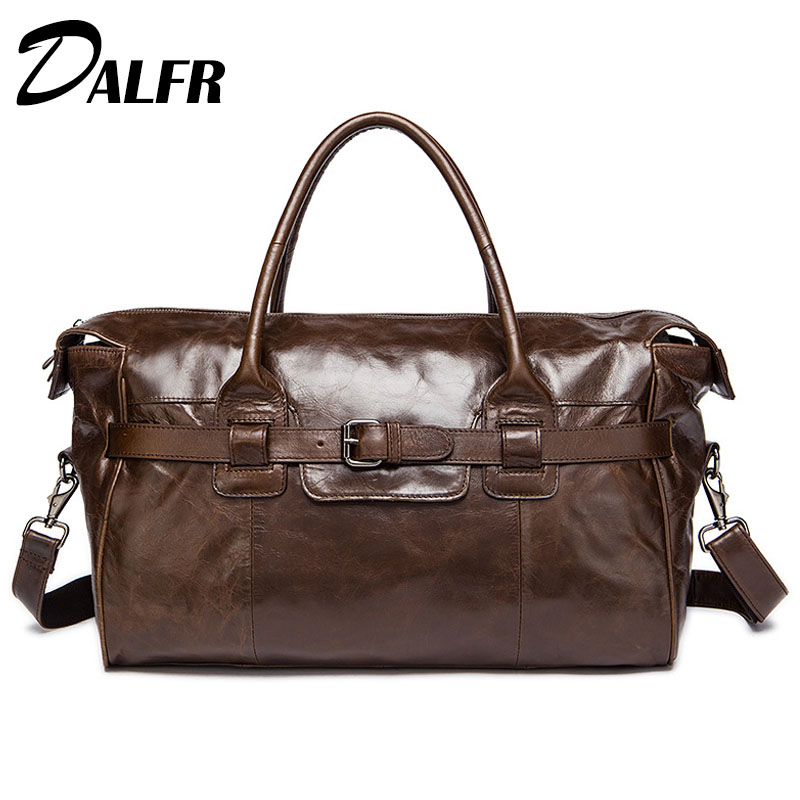 DALFR Duffle-Bag Weekend-Bags Water-Proof Genuine-Leather Fashion 20inch Men Cowhide