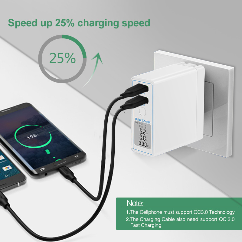 Image 4 - HKHUIBANG 36W USB Charger Quick Charge QC 4.0 3.0 Portable Charger For iPhone Samsung Xiaomi Fast Charging Adapter Led Display-in Mobile Phone Chargers from Cellphones & Telecommunications
