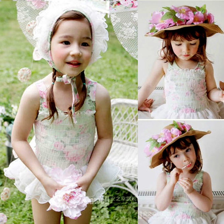 Korean New Pattern Lovely Children Bikini Swimming Suit Girl Fission Baby Princess Lace Gauze Printing Swimming Suit Lin Tai 2016 spring new pattern korean children s garment girl baby lace back will bow dress girl jacket