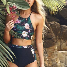 High Waist Bikini 2017 Floral Swimwear Push Up Swimsuit High Neck Biquini Brazilian Bikinis Set Crop Bath Suit Maillot De Bain