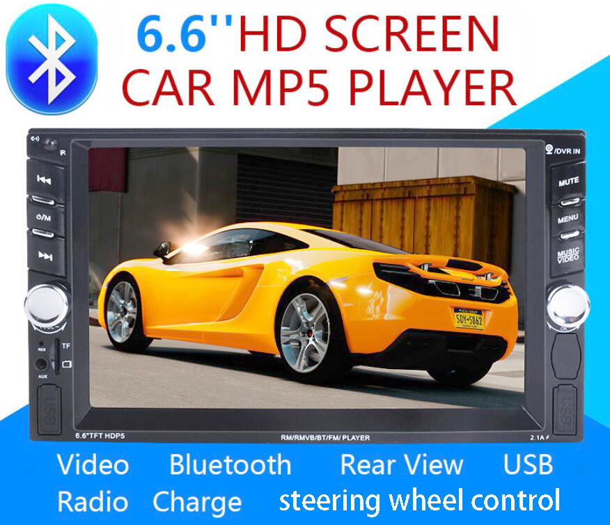 2 Din Car Video Player 6.6'' HD Bluetooth Stereo Radio FM MP3 MP4 MP5 Audio USB Auto Electronics 2din autoradio steering-wheel