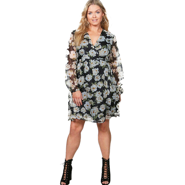 cf6d361641d77 2017 Multi Print Large Size Dress Women Floral Sheer Long Lantern Sleeve  A-Line Summer Ruffle Lace Up Casual V-Neck Dress