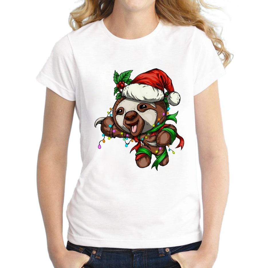 2018 Women Fashion Festive Sloth Design T shirt Novelty Tops Lady Christmas Sloth Printed Short Sleeve Tees