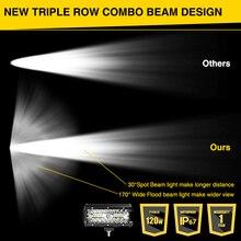 RACBOX 7 inch Triple Row LED Light Bar Flood Spot Combo 120W 12V 24V Car Truck 4WD OffRoad ATV UTV Boat 7″ LED Driving Work Lamp