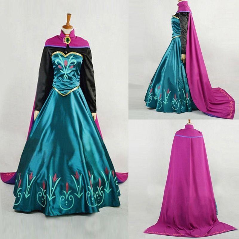 XL Snow Queen Anna Dress Adult Halloween Princess Anna Coronation Cosplay Costume Movie Party Women Fancy Dress Custom Made Z3