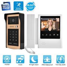 Smart Doorbell 4.3 Inch Color LCD Touch Button Video Door Phone Doorbell Intercom Entry System door bell waterproof no battery