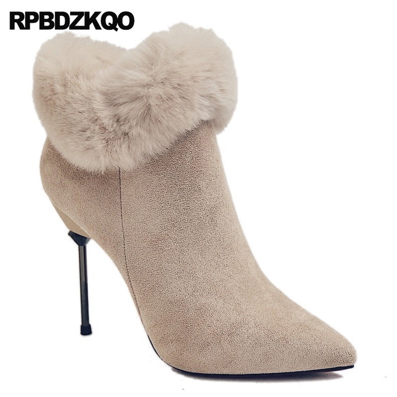 Pointed Toe Ankle Suede Fashion Real Fur Winter Sexy Stiletto Booties Side  Zip Boots Furry Women Beige Chinese Female Short New-in Ankle Boots from  Shoes on ... f11a6df9b83d