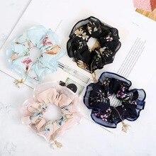 Women Elastic Hair Rope Band Large Intestine Scrunchie Ponytail Holder Ring Tie Pearl Headband Headwear cheveux Accessories