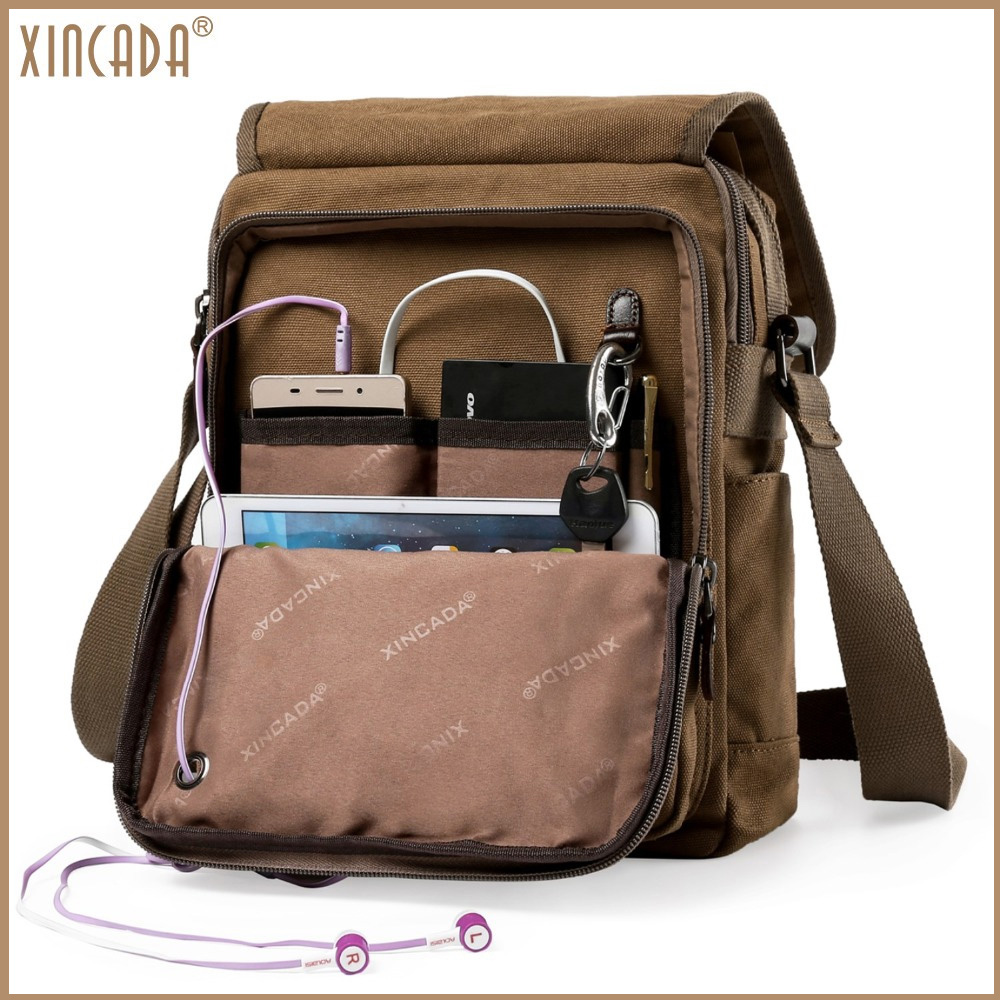 XINCADA Mens Shoulder Bags Man Purse Canvas Small Messenger Bag Crossbody Bag Purses and Bags