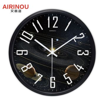 Airinou the Moon Starry Sky and Mars 3 Styles ,Glass&Metal Silent Movement Wall Clock,Children Room Museum Theme Park  Decorate 16