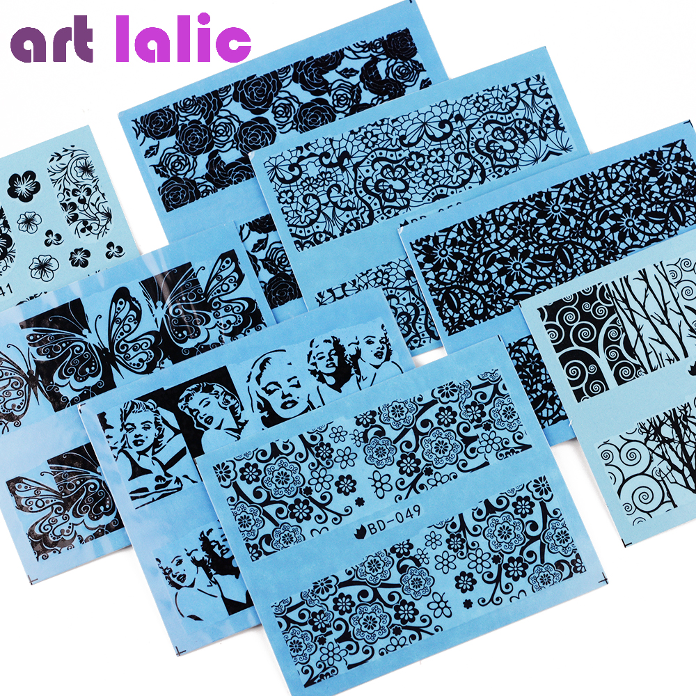 Artlalic 72 Sheets Water Transfer Nail Stickers Jumbo Set Black Lace Flowers Design Tip Nail Art Decals Beauty Manicure Tools 30pcs set 3d lace nail art stickers decals manicure decoration nail accessories white black diy tools beauty nails