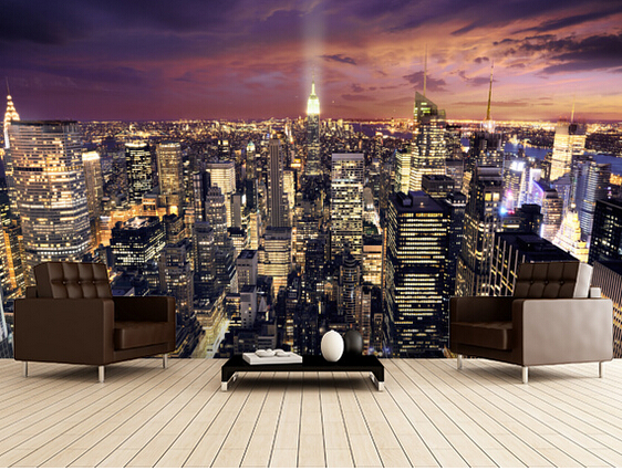 Custom photo wallpaper, New York skyscraper murals for apartments, residential, office background wall waterproof wallpaper