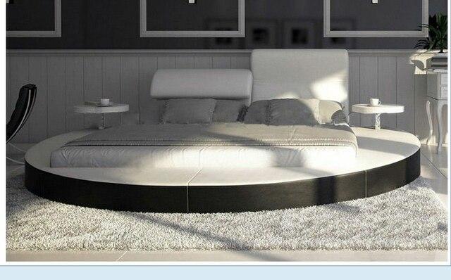 Mybestfurn lujo tamaño extra grande cama redonda, cuero de grano ...