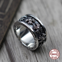 S925 pure silver men's ring individuality Restoring ancient ways The punk style The cross rotates the popular classic ring Gift
