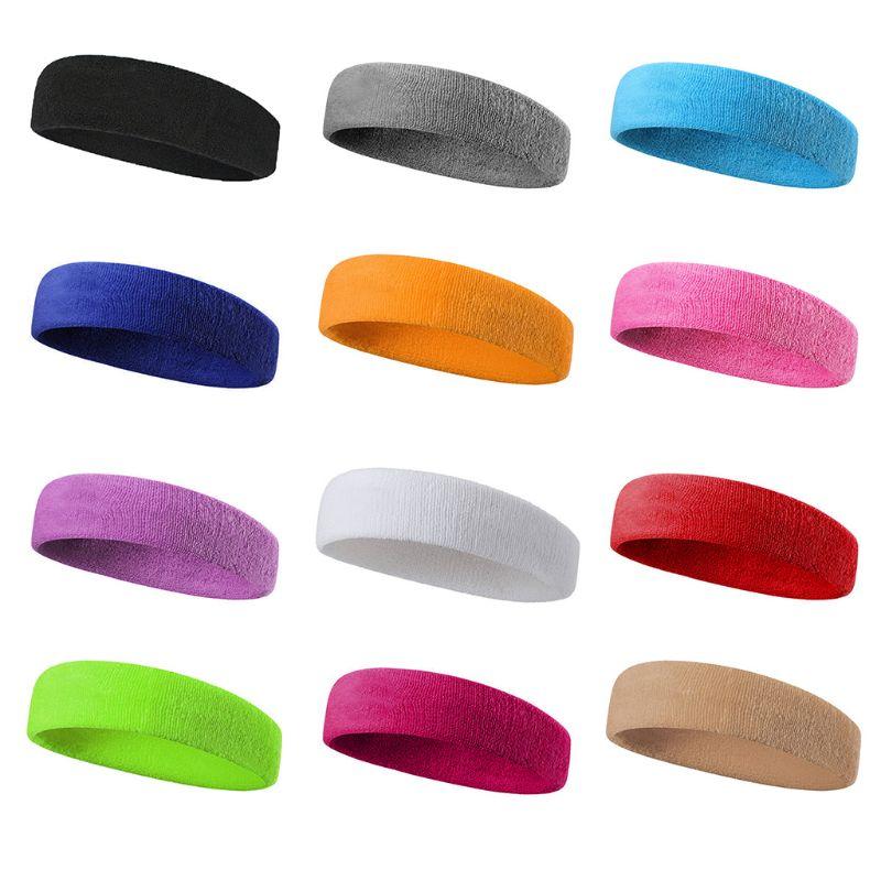 @1  12 Цветов Мужчины Женщины Тренировки Оголовье Утолщенные Полотенце Sweatband Яркий Сплошной Цвет Стр ✔