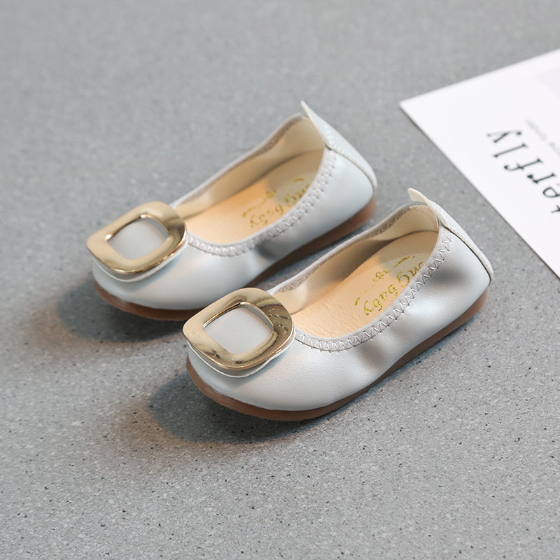 Kids Baby Shoes For Girls Autumn/spring Children Shoes Fashion Shallow Mouth Shoes Square Buckle Flat Bottom Casual Baby Shoes