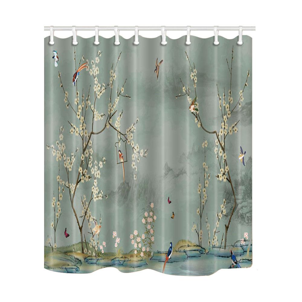 Art Tree Print Shower Curtains Mildew Resistant Waterproof Shower Bath Curtains