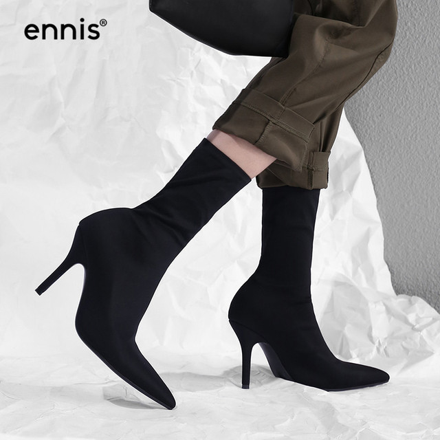 25e35d94e127 ENNIS 2018 SLIM FIT Mid Calf Boots Women s Pointed Toe Fabric Stretch Boots  Black Thin High Heel Boots Shoes Sexy 10cm HOT A8101