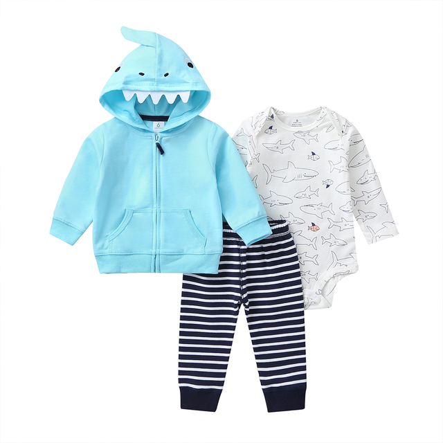 cartoon shark baby boy set long sleeve hooded coat blue+bodysuit+pants stripe 2020 spring fashion babies outfit newborn clothes 1