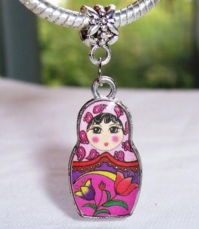 Russian Doll Russia Dangle Bead for Silver European Charm Bracelet Vintage Pendants Jewelry Accessories Making
