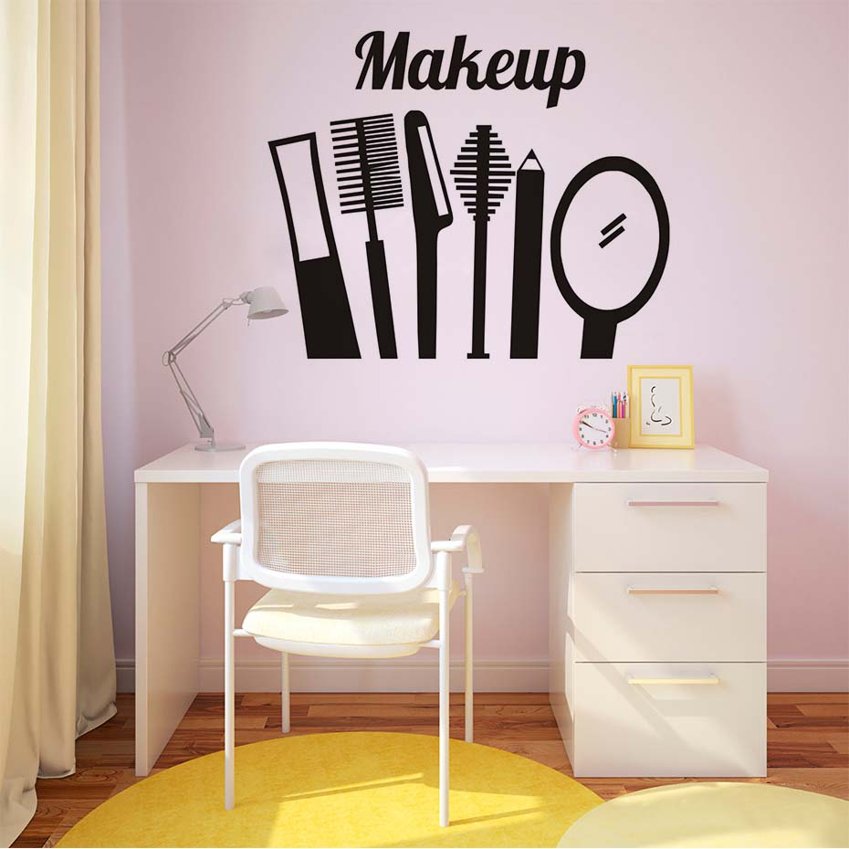 US $8.24 20% OFF|Make Up Beauty Salon Tools Vinyl Wall Sticker Fashion  Design Girls Bedroom Wall Decor Room Wallpaper Home Decoration  Accessories-in ...