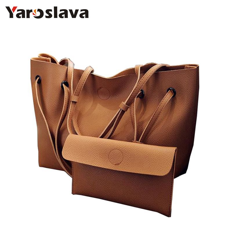 Soft Leather Women Bag Set Luxury Brand 2017 Fashion Designer Female Shoulder Bags Big Casual Bags Set Handbag High Qualit LL111 2017 new casual snake pattern genuine leather women handbag serpentine fashion shoulder bag luxury brand designer female totes