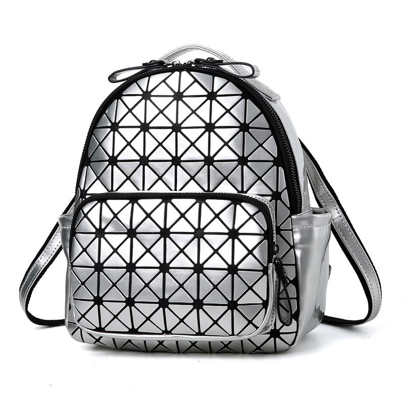 Luxury Geometric Small Women Leather Backpack Mochila Feminina School Bags For Teenage Girls Zipper Anti Theft Backpack
