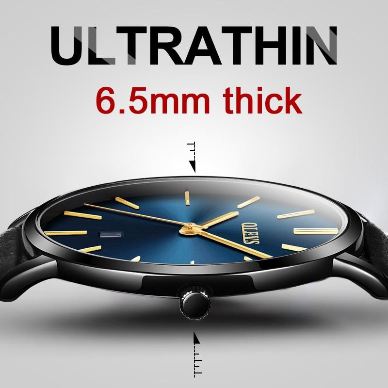 Originele Horloge OLEVS Waterdichte Lederen Quartz Ultra Dunne - Herenhorloges
