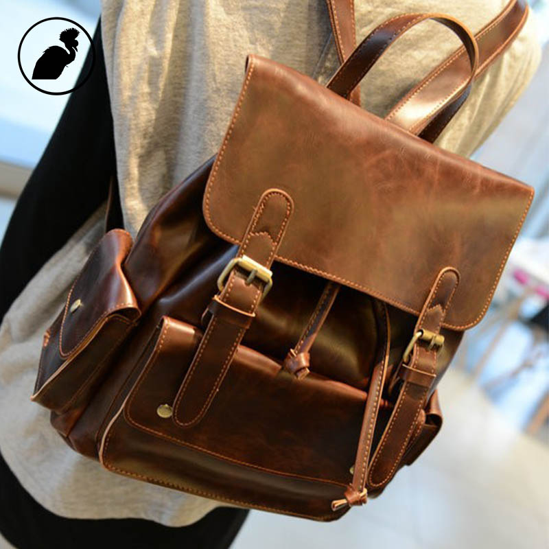 PUNKLADY New 2016 men famous brands cow leather vintage fashion travel school bag brown hasp preppy style casual backpacks